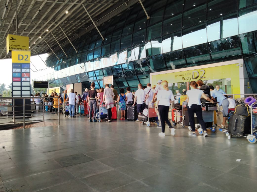 Photo of tourists going back to germany from trivandrum international airport