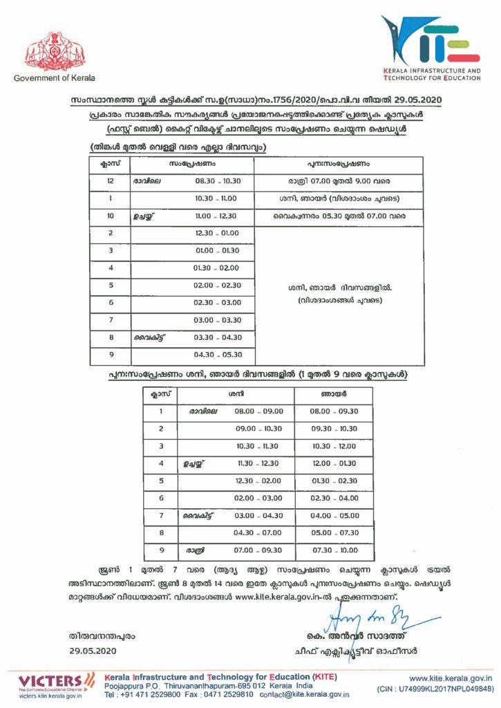 kerala state general education-department ciruclar class schedule