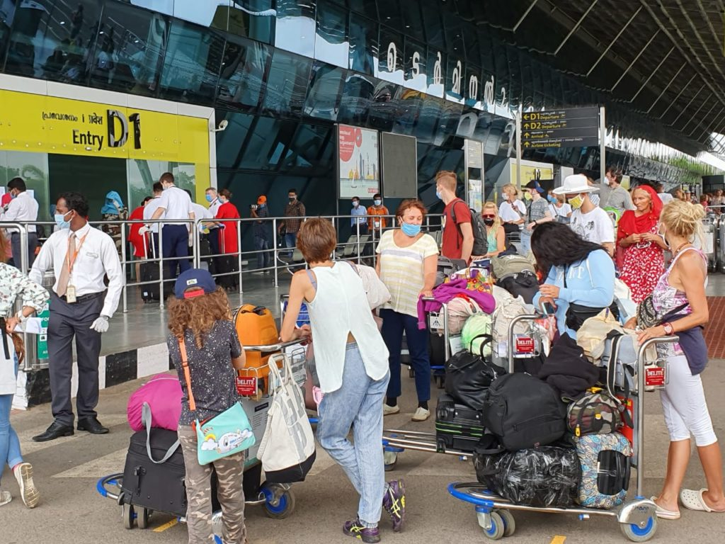 Russian tourists in trivandrum airport flying back.