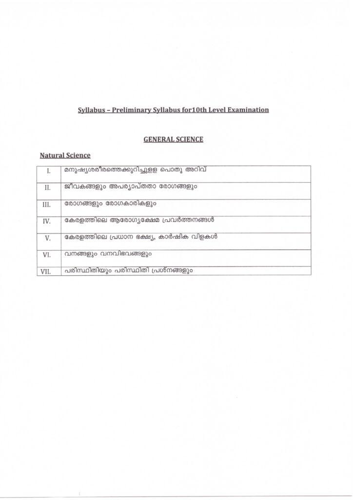 kerala psc 10th level prelims general science (natural science) syllabus