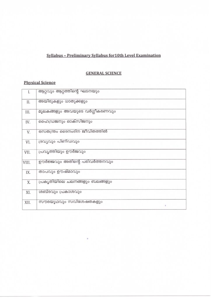kerala psc 10th level prelims test general science (physical science syllabus)