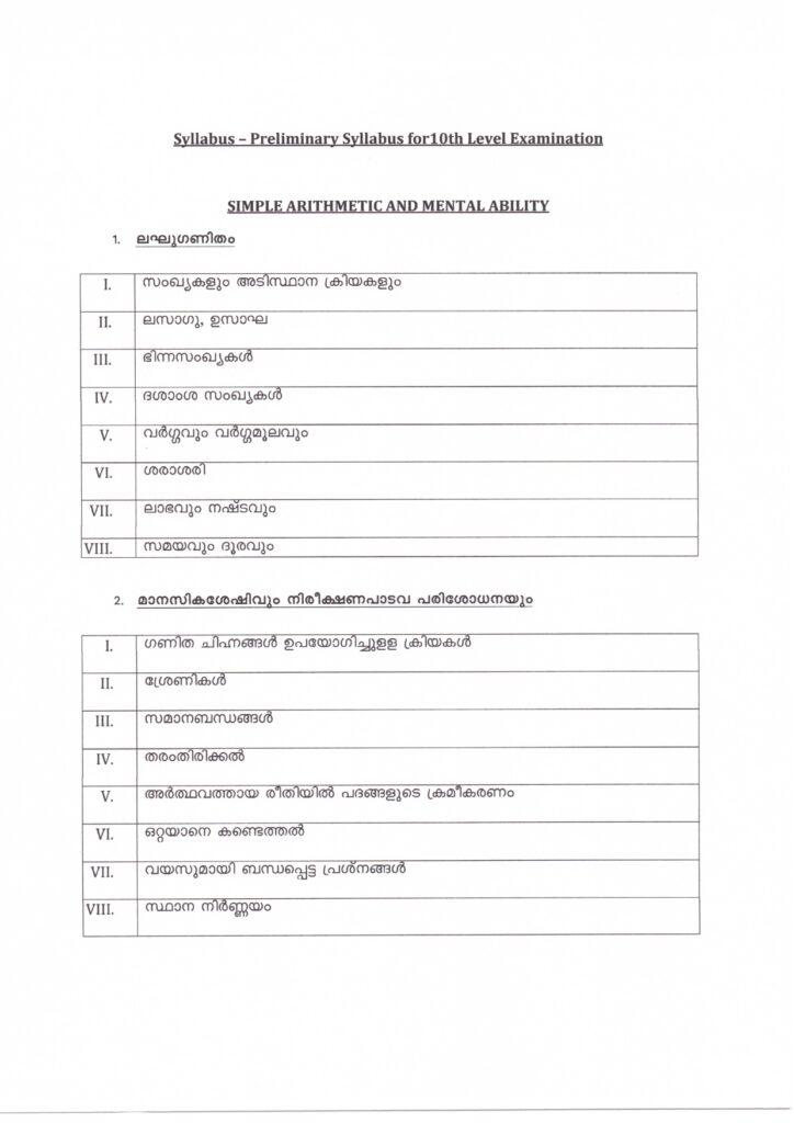 kerala psc 10th level preliminary exam maths, mental ability and reasoning syllabus